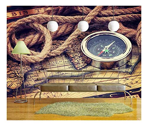 (wall26 - Compass and Old Map - Removable Wall Mural | Self-Adhesive Large Wallpaper - 100x144 inches)