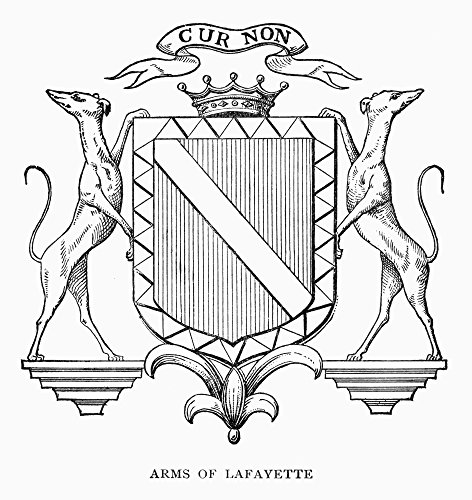 Coat-Of-Arms Lafayette Nthe Lafayette Coat-Of-Arms With The Motto Cur Non (Why Not) Wood Engraving American 1881 Poster Print by (24 x -
