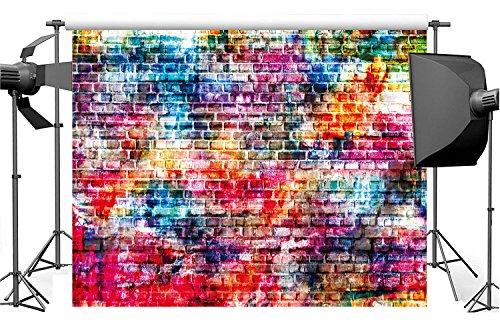 Dudaacvt 7x5ft Colorful Brick Wall Photography Backdrops Painting