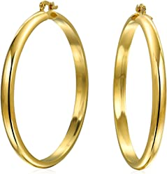 e06d00db81 Simple Round Half Tube Large Hoop Earrings For Women For Teen Shiny 18K  Gold Plated Brass