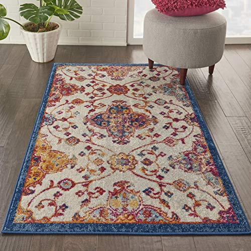 - Nourison PRV04 Persian Vintage 3' x 5' Bohemian Style Area Rug, Ivory/Multi 3'3