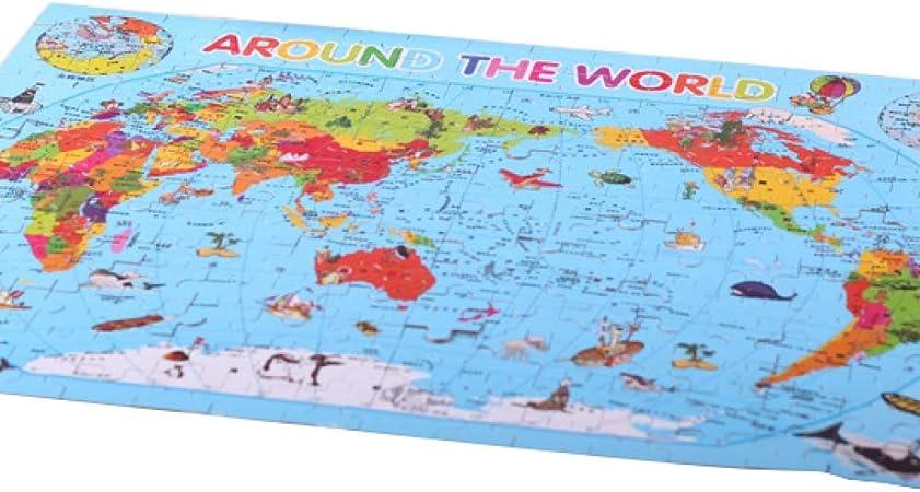 JYYC 200 Piezas de Rompecabezas de Hierro en Caja de Dibujos Animados educativos niños de Madera 6-7-8 años de Edad Bloques de construcción Juguetes-Hierro en Caja 200 Mapa del Mundo: Amazon.es: Hogar