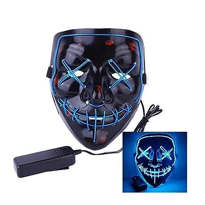 Wilk LED Máscaras Craneo Esqueleto Mascaras Navidad Halloween Cosplay Grimace Festival Party Azul: Juguetes y juegos