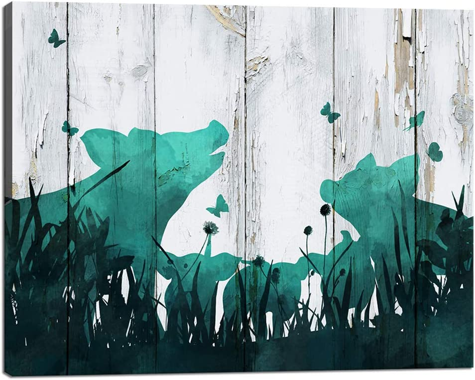 Visual Art Decor Abstract Farm Animal Painting Pig Family with Butterfly in the Bushes Canvas Wall Art Prints Rustic Teal Wood Texture Ready to Hang for Home Bedroom Wall Decoration