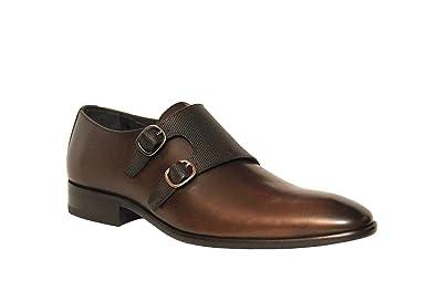Men's Monck Strap Slip On Brown Leather Dress Shoes 713-6854