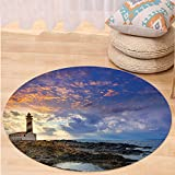 Kisscase Custom carpetLighthouse Decor Collection Cap de Favaritx Sunset Lighthouse Cape in Mahon at Balearic Islands of Spain Coast Image Bedroom Living Room Dorm Blue