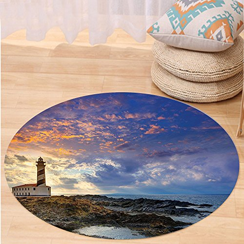 Kisscase Custom carpetLighthouse Decor Collection Cap de Favaritx Sunset Lighthouse Cape in Mahon at Balearic Islands of Spain Coast Image Bedroom Living Room Dorm Blue by kisscase