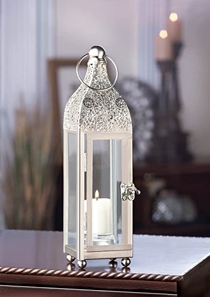 Lantern For Wedding Centerpieces.Slim Silver Chic Moroccan Shabby Candle Holder Small Lantern Wedding Centerpiece
