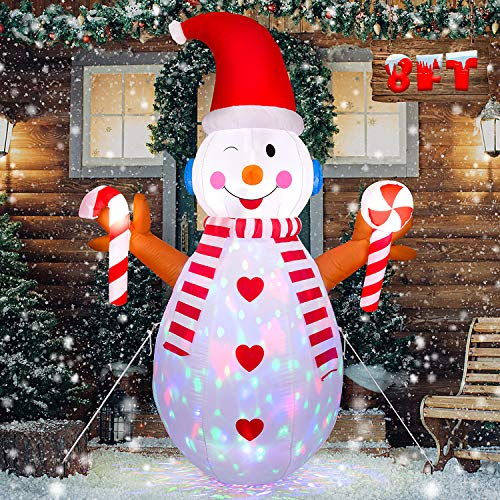 Anguslvy 8 FT Christmas Inflatable Snowman with Branch Hand - Cute Fun Xmas Holiday Blow up Party Decorations for Indoor Outdoor Yard with Color Changing LED Lights