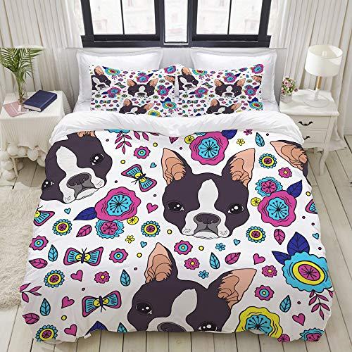 (VAMIX Beautiful Flowers Pattern and Boston Terrier Studio Single Apartment Decorate Decorative Custom Design 3 PC Duvet Cover Set King)