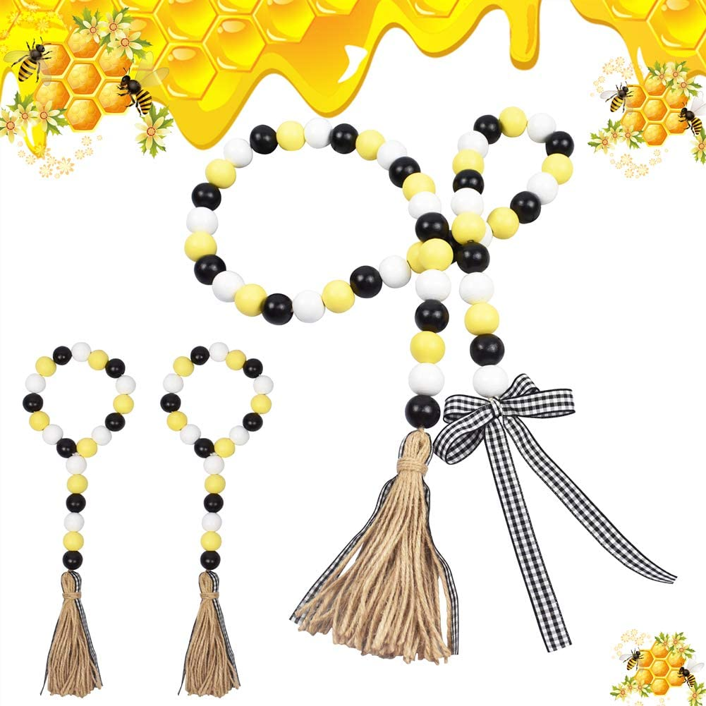 DrCor Bee Tiered Tray Decor Wood Bead Garland with Tassel Set of 3 Farmhouse Fall Decor Yellow Black White Bee Kitchen Accessories