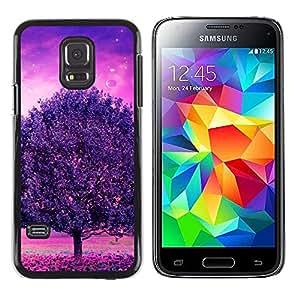 Caucho caso de Shell duro de la cubierta de accesorios de protección BY RAYDREAMMM - Samsung Galaxy S5 Mini, SM-G800 - Púrpura Árbol Glow