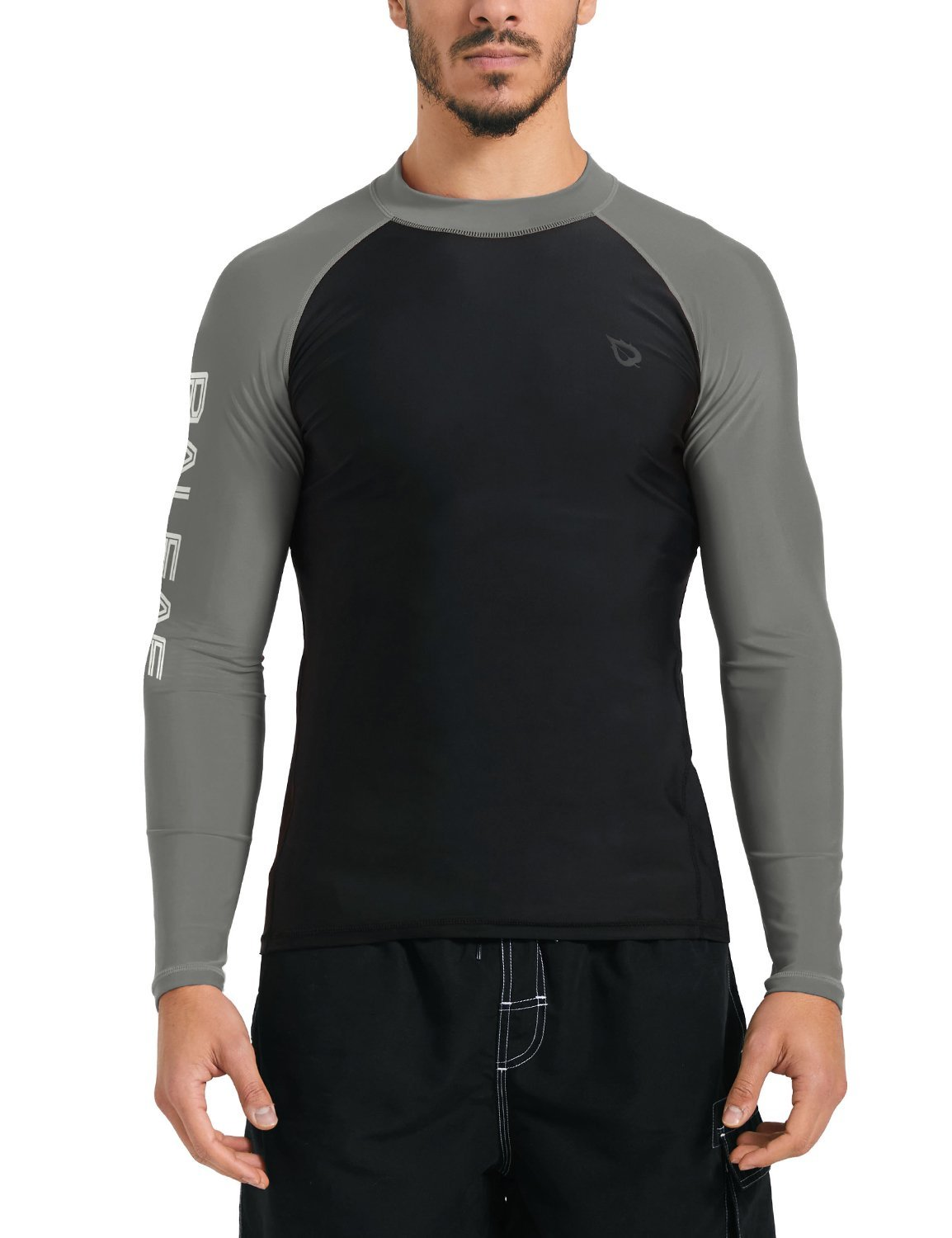 Baleaf Men's Basic Long Sleeve Rashguard UV Sun Protection Athletic Swim Shirt UPF 50+ Black/Grey XL by BALEAF