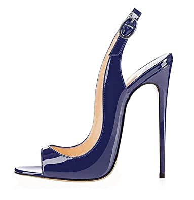 Soireelady Damen Lack Sandaletten Peep Toe Riemchensandaletten High Heels Schuhe Rote Größe 35 L7PuaFS