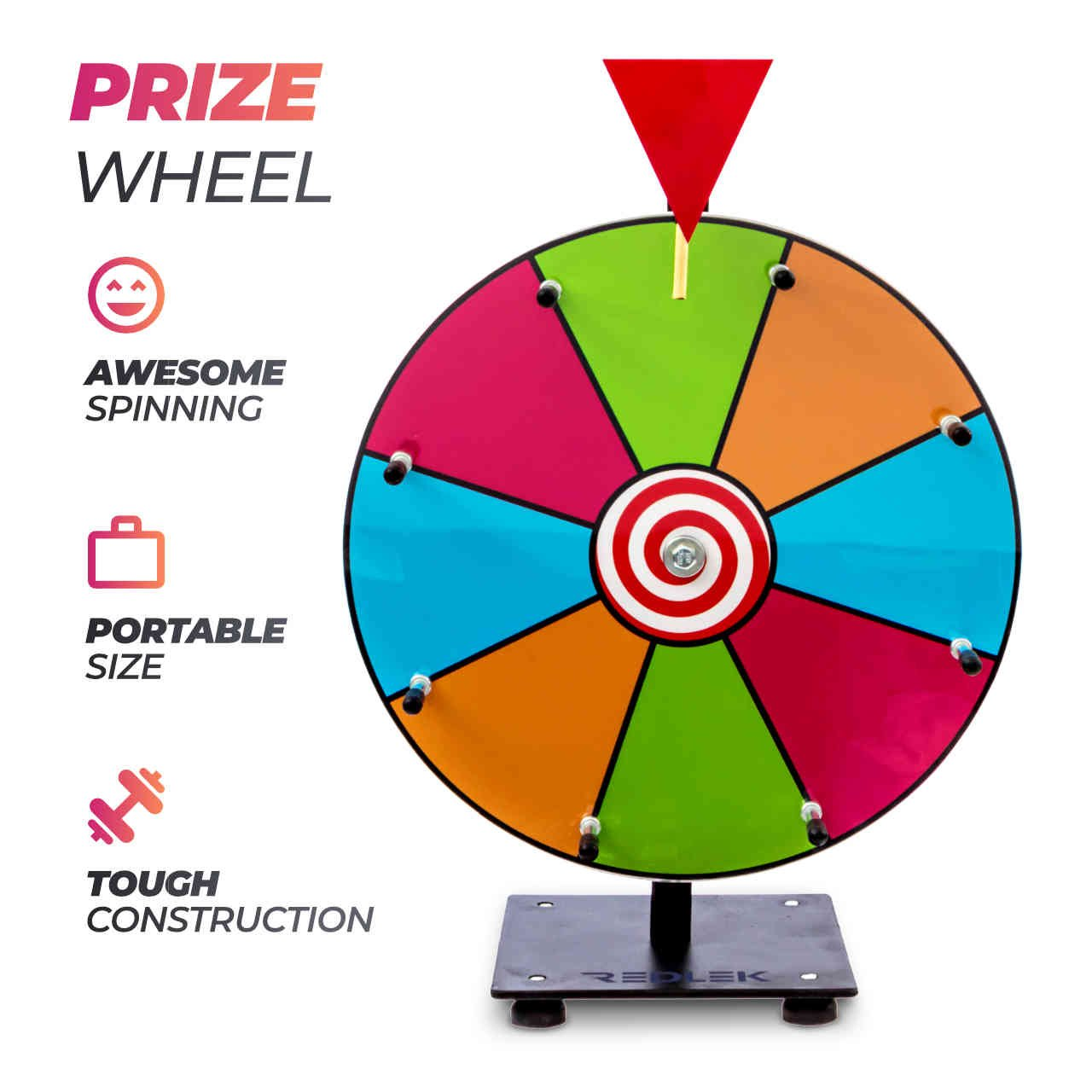 """Redlek Spinning Prize Wheel – Small 12"""" Spinning Tabletop Color Prize Wheel 