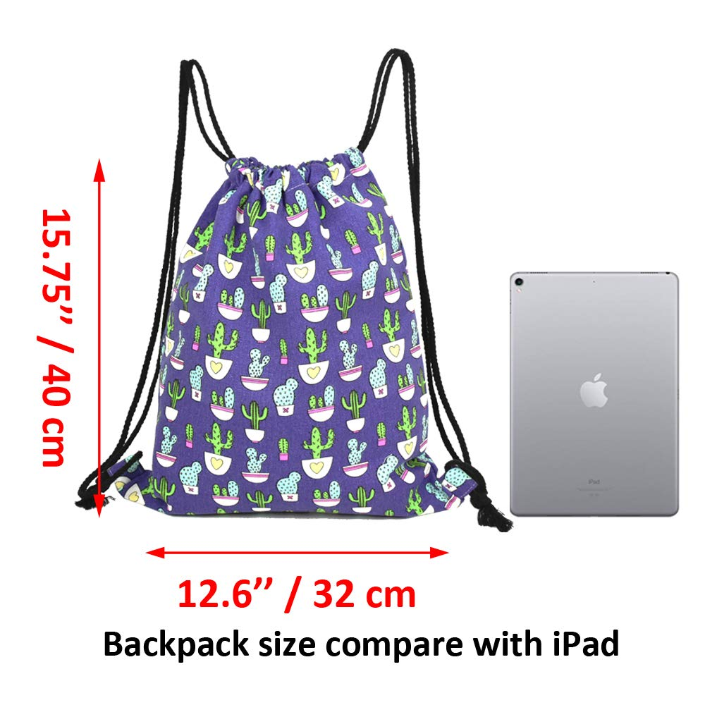 Amazon.com | Lacheln Canvas Drawstring Backpack Travel Sackpack Bag Gym Outdoor Sports Portable Daypack for Girl Boys Woman Female, Dark Blue Cartoon Cactus ...