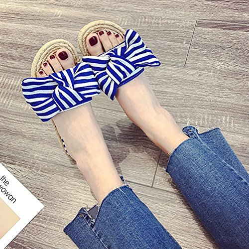 Summer Blue Leisure Non Outdoor Women for with Slippers Sandals Flat HUPLUE slip Shoes Bowknot 5pnOaxw