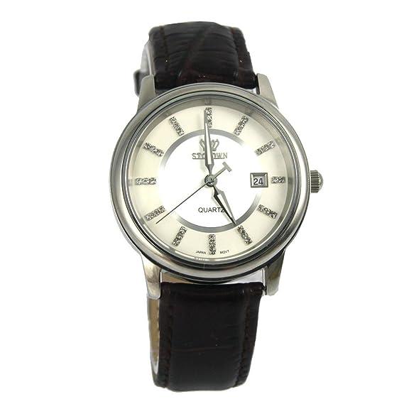 stcrown - Bolsita relojes hombres de cuarzo relojes cuarzo reloj para hombre correa de piel -1: Amazon.es: Relojes