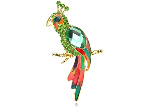 Green Enamel Parrot Macaw Love Bird Rhinestone Crystal Brooch Pin Jewelry & Watches