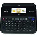 Brother P-touch Label Maker, PC-Connectable Labeler, PTD600, Color Display, High-Resolution PC Printing, Black, Black/gray