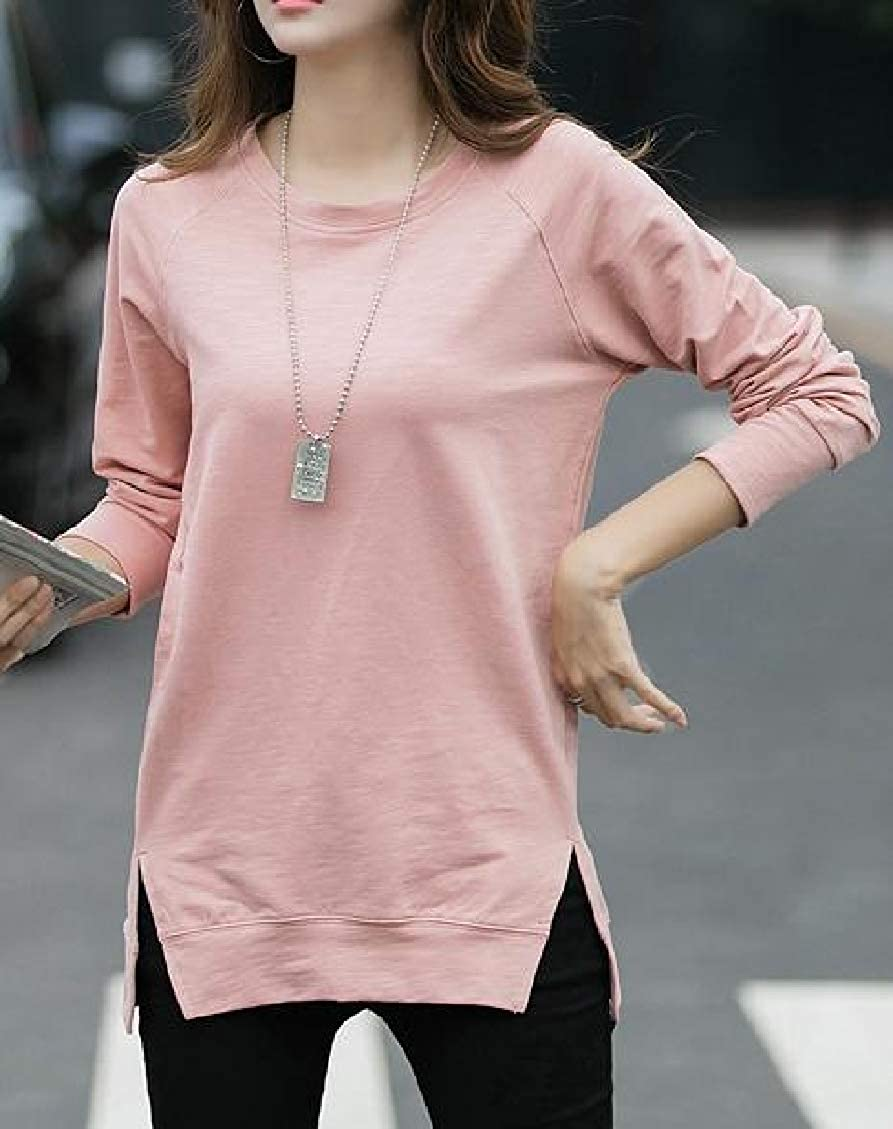 Sweatwater Womens Slit Casual Blouse Top Loose Fit Crewneck Long Sleeve T-Shirts
