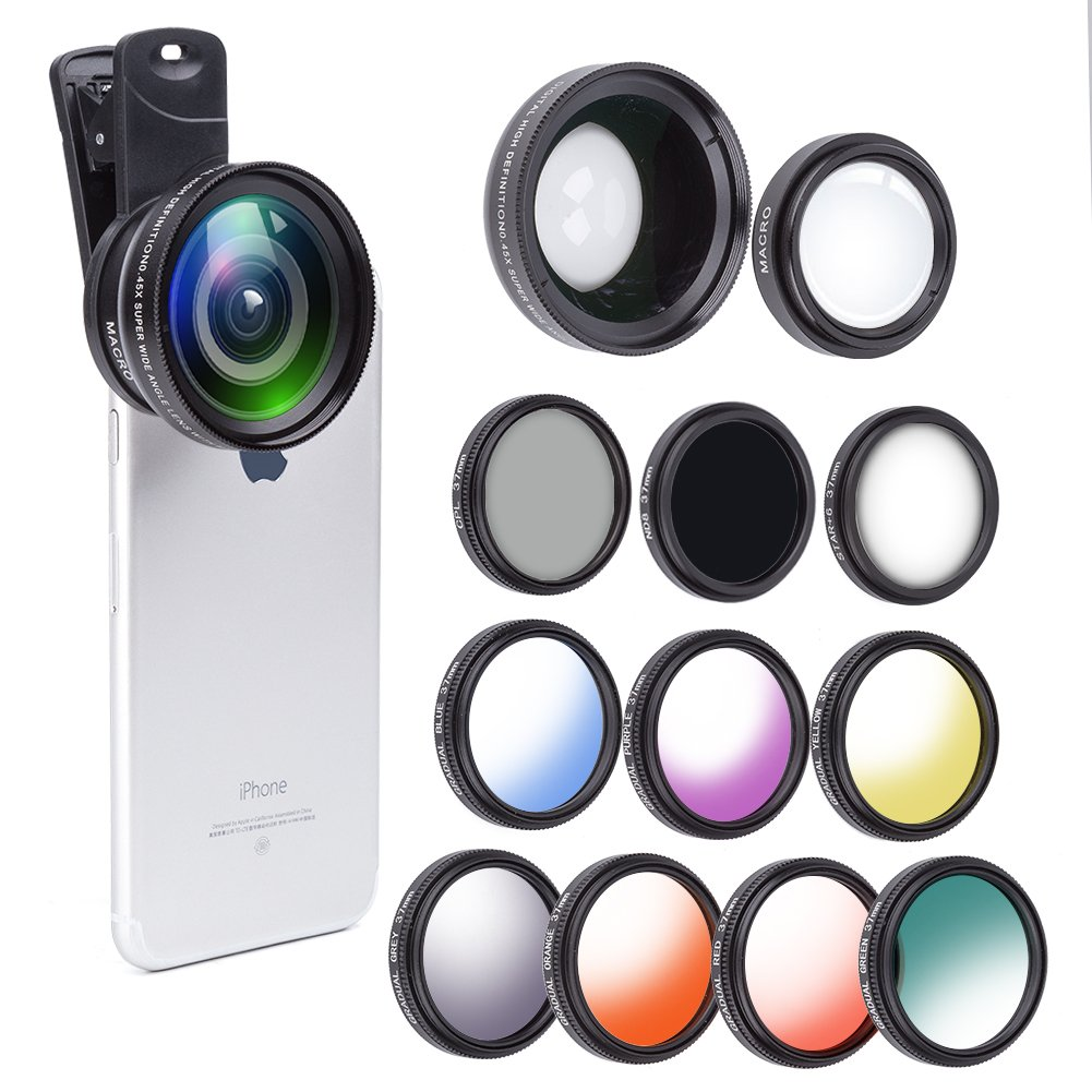 12 in 1 Camera Lens Kit, 0.45X Super Wide Angle Lens + 12.5X Macro Lens +Star/CPL/ND8/ 7 Color fliter iPhone 8, 7, 6s, 6, 5s & Samsung & Smartphones by AMNADOF