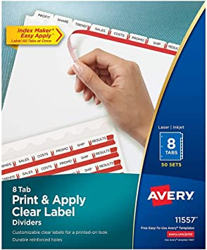 9.50-Inch x11-Inch 25//Box Print-on Avery Customizable Print-On Dividers