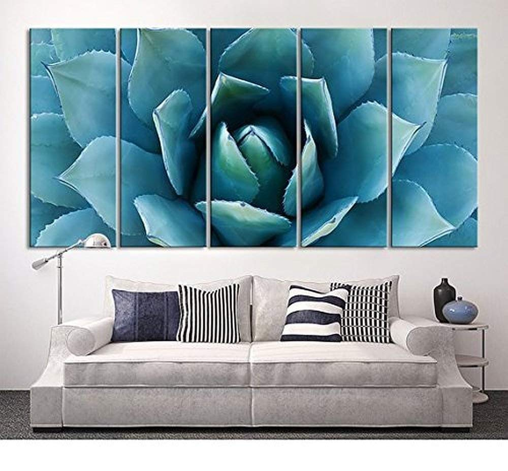 EZON-CH Extra Large Wall Art Blue Agave Canvas Prints Agave Flower Large Art Canvas Printing Extra Large Canvas Wall Art Print 80 Inch Total