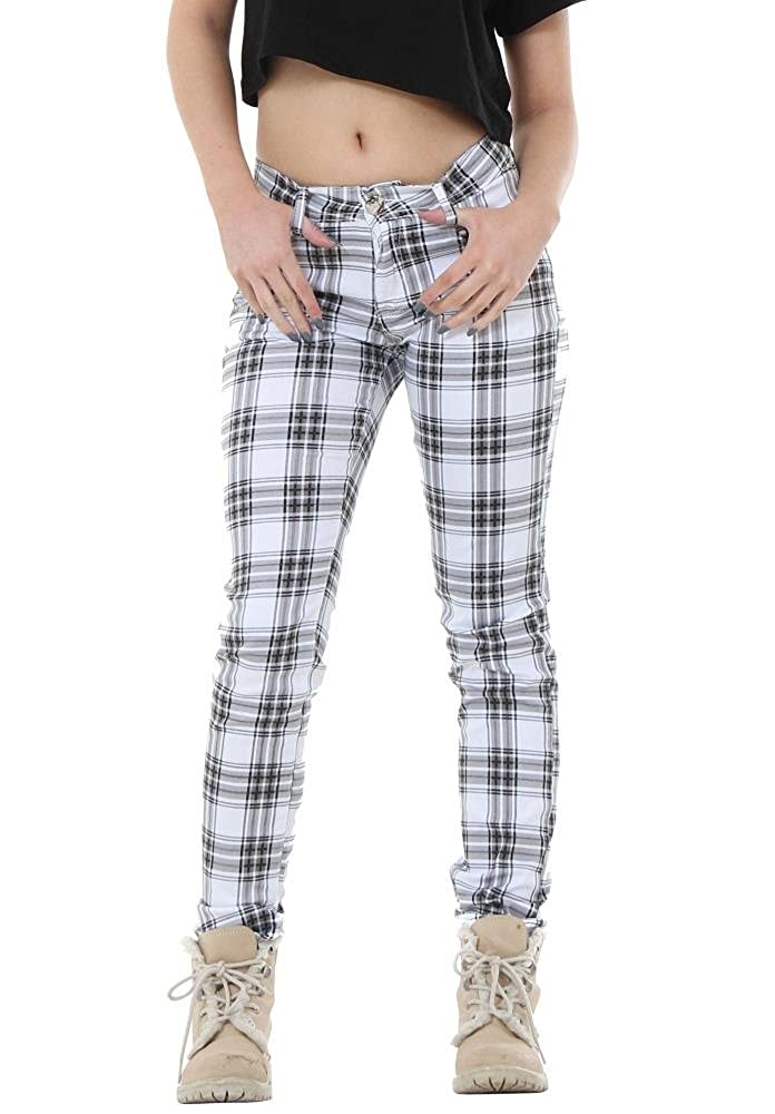 Do Do Tartan Check Plaid Fitted Trousers - White & Black at ...