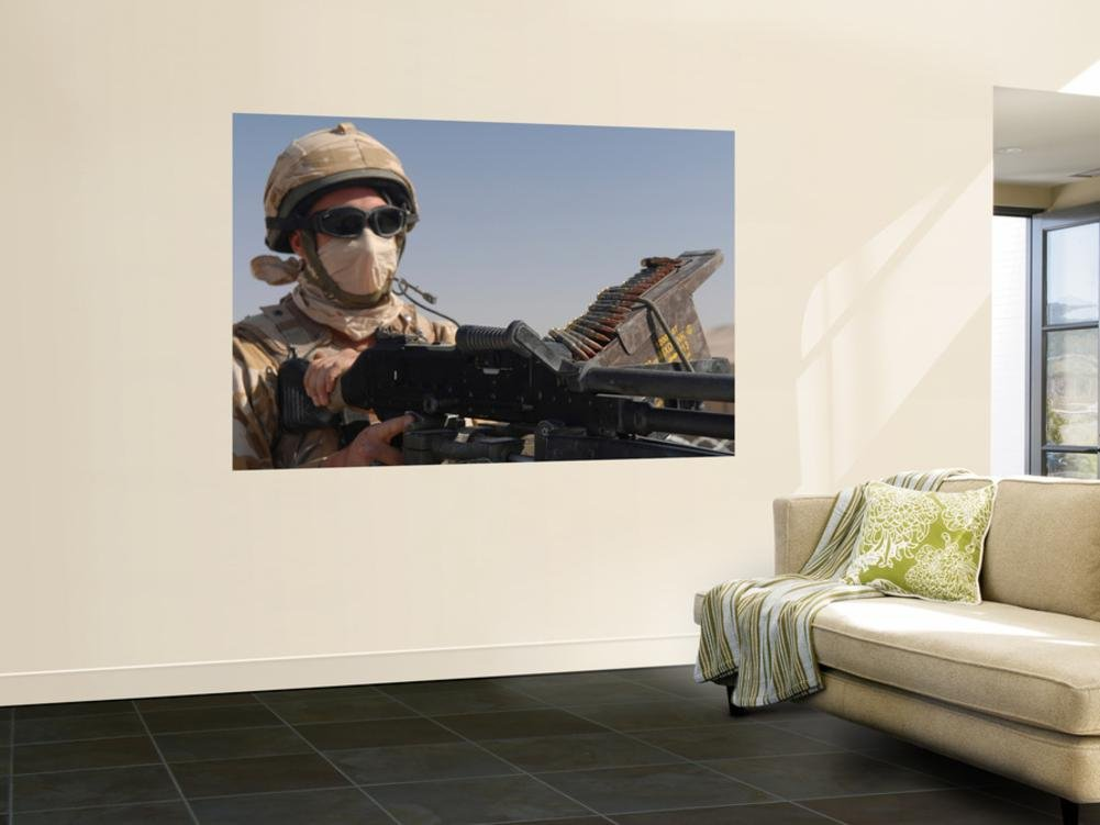 A British Army Soldier Mans a Machine Gun Mounted on Top of a Land Rover Wall Mural by Stocktrek Images 48 x 72in
