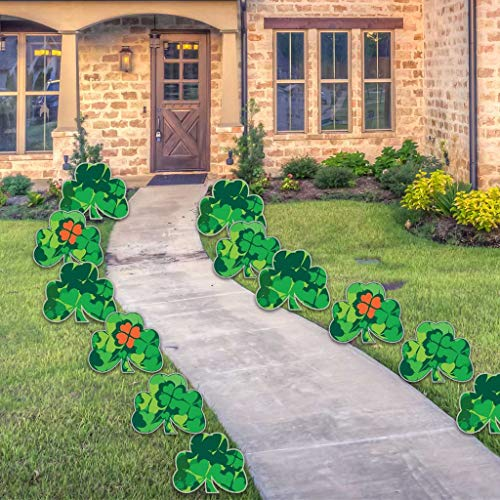 VictoryStore Yard Sign Outdoor Lawn Decorations: Shamrock Pathway Markers (12 Full Color) - St. Patricks Day Yard Decorations Set of 12 Includes Stakes