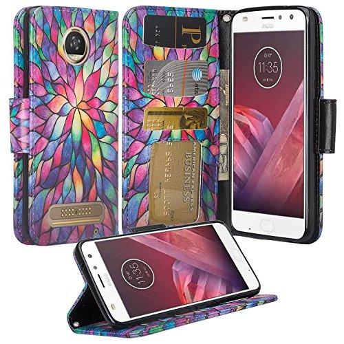 reputable site 11869 b5711 Motorola Moto E4 Case, Moto E4 Wallet Case, Wrist Strap Flip Folio  [Kickstand] Pu Leather Wallet Case with ID&Credit Card Slot for Moto E4 -  (Rainbow ...