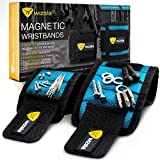 #3: Wizsla Magnetic Wristbands for Holding Screws Tools Set of 2 Sizes, Best Unique Birthday Gift for Men, Women, DIY, Handyman, Dad Fathers, Husband, Boyfriend, Him (Blue)