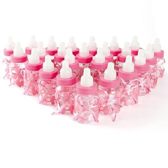 Top 24x Boîte à dragées mini biberon 4x9cm tissu ours rose cadeau  GY67
