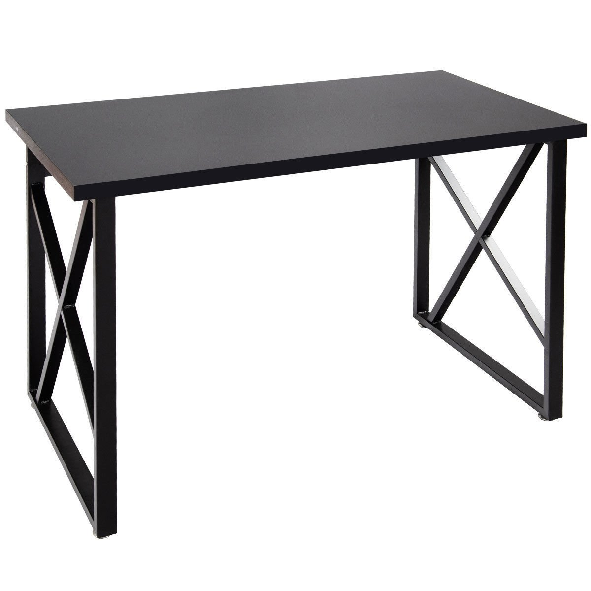 47.5'' Black MDF Writing Computer Desk PC Laptop Table Home Office Study Workstation Computer Desk w/Metal Leg with Ebook