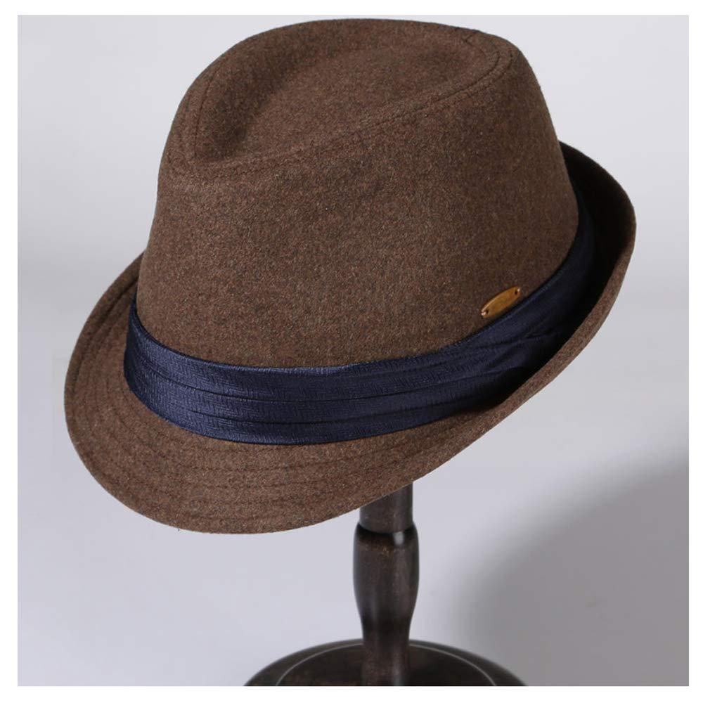 LL Hat Male Winter Wool Warm Black Fedora Hat Ladies Winter Fashion Tide Korean Version of The Solid Color Felt Hat (Color : Brown, Size : 56-58cm)
