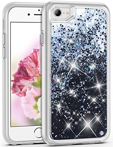 Bling Phone Covers - iPhone 7 Case, ELOVEN Glitter Bling Sparkle Case Flowing Beads Liquid Case Shockproof TPU Silicone Inner Frame+PC Shell Clear Back Cover for iPhone 7 iPhone 8 iPhone 6 iPhone 6s-Black