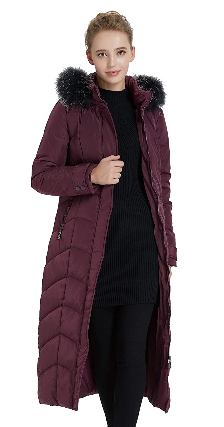 16ed24830 Obosoyo Women's Hooded Thickened Long Down Coat Maxi Down Parka Puffer  Jacket