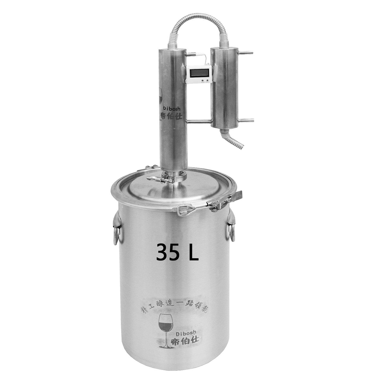 12L/20L/35L Home Moonshine Still Distiller Stainless Steel Cooler Ethanol Water Essential Oil Boiler Spirits Alcohol Wiskey Thumper Keg Brewing Kit Wine Making Fermenter Tank (35Litres, 316 Stainless)