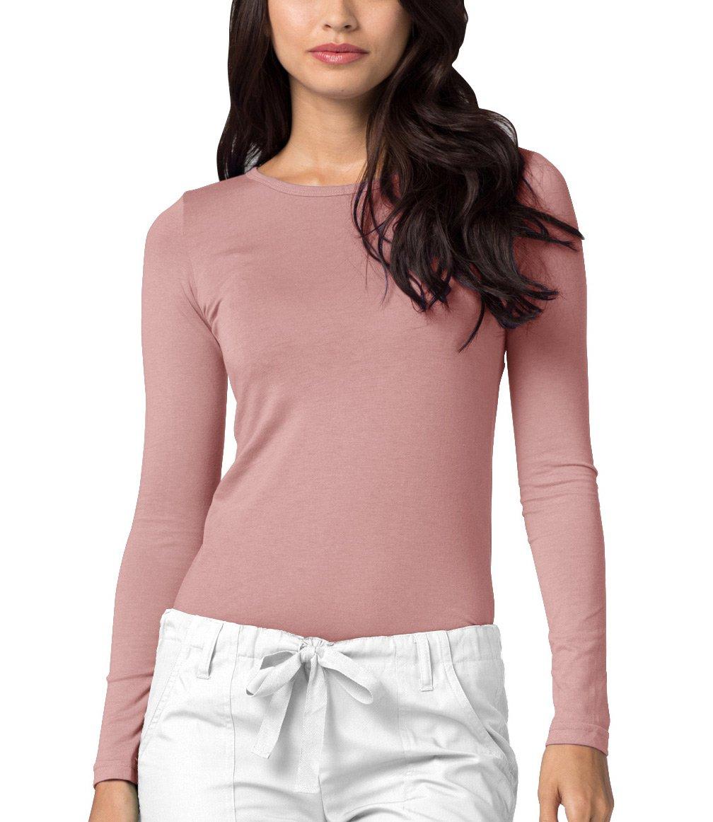 Adar Womens Comfort Long Sleeve T-Shirt Underscrub Tee - 2900 - Blush - L