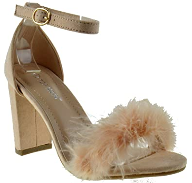Konner 30 Womens Feather Chunky Heel Sandals