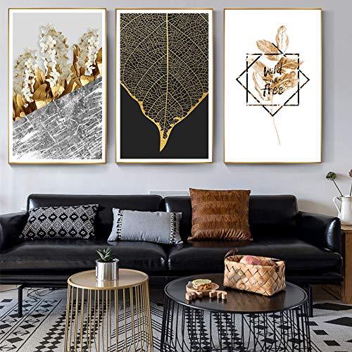 Plantas doradas Flores Hoja Lienzo Pintura Cartel Impresión ...