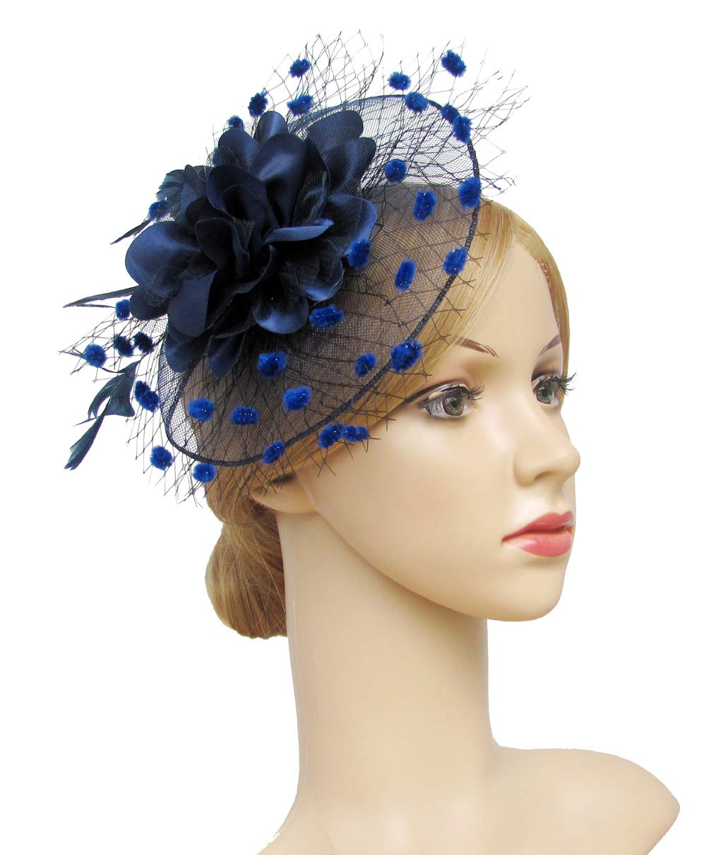 K.CLASSIC Fascinators Hats for Womens 50s Headwear with Veil Flower Cocktail Tea Party Headwear(A-Navy)