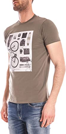 Camiseta Manga Corta Armani Jeans Hombre Algodón Verde, Blanco y Negro C6H01DA60 Verde L