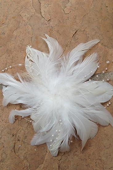 Amazon bridal white feather fascinator flower pearl hair bridal white feather fascinator flower pearl hair barrette bird cage veil clip mightylinksfo
