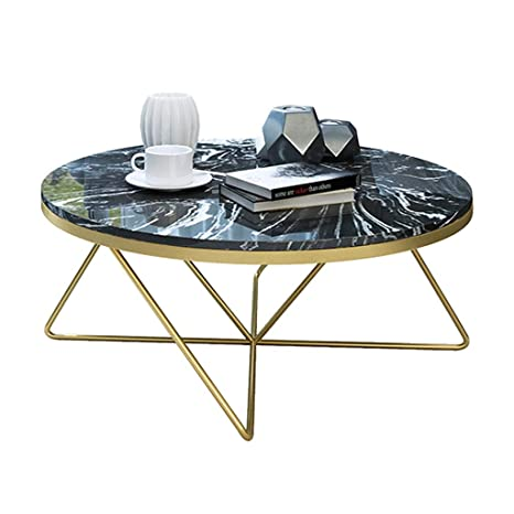 Round Marble Coffee Side Table Elegant Look With Golden Metal Leg