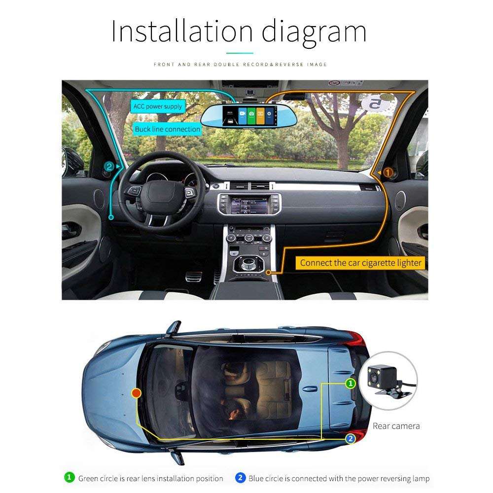 B1 Powpro N17S 7-Inch IPS Touch Screen Full HD 1080P Front Rear Camera Dash Cam with Night Vision 170 Degree Wide-Angle Rearview Mirror Vehicle Recorder SD Card Is Excluded