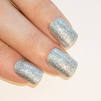 Bling Art False Nails French Manicure Silver Gel Glitter Glossy Medium Tips UK