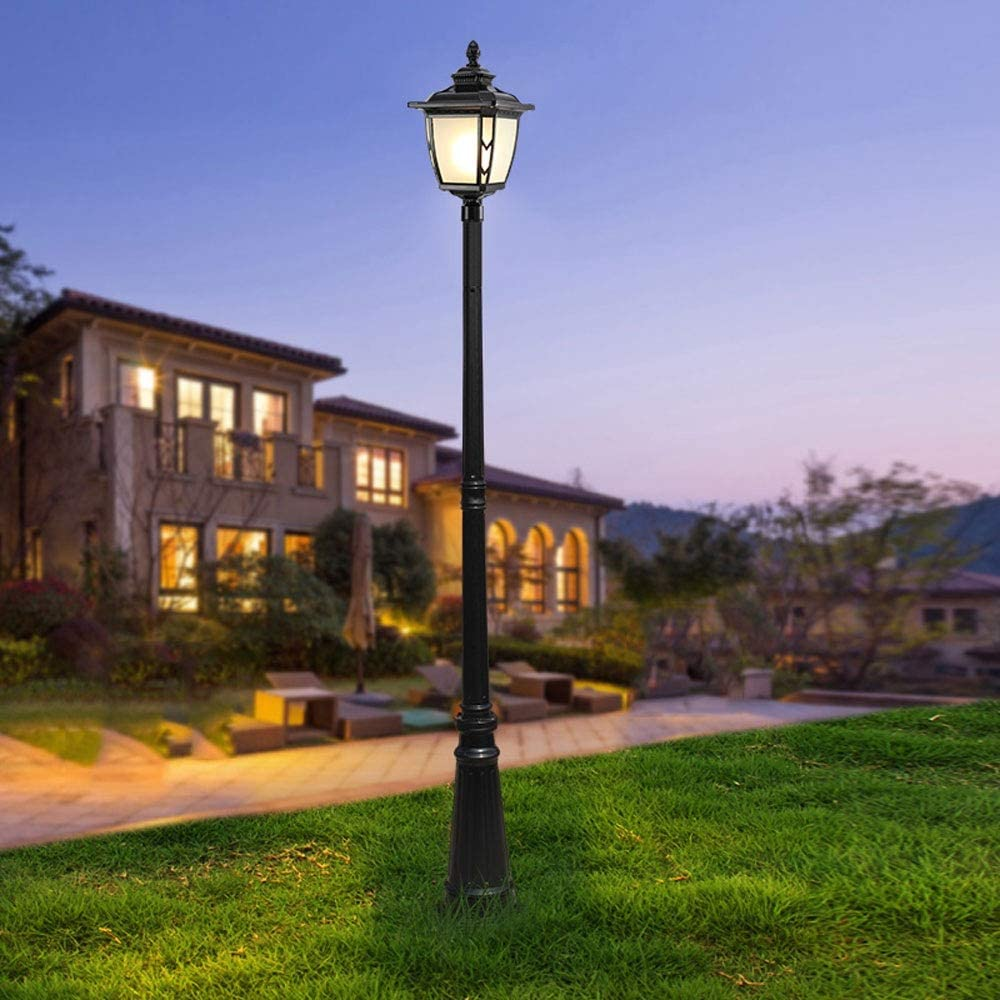 Pumnple Black Outdoor Ip65 Waterproof hoch Pole Landscape Lighting Die-Cast Garden Glass Lantern European Villa Hotel Community Aluminum Lawn Floor Lamp Pillar Column Post Light E27 (Size : H:1.4M)
