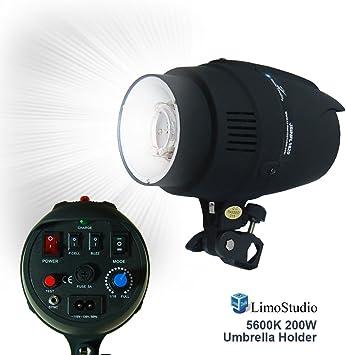 Mount on Light Stand Sync Cord Professional Photography Use Fuse Umbrella Input AGG2485 LimoStudio Flash Strobe Light 200 Watt Wireless Triggering Available Test Button Photo Studio